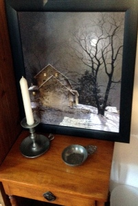 little table from Berwyn estate sale a few years ago - about $15. Candlestick and dish $5 from Harriton Fair at Historic Harriton House ten years ago. Print on the table of Chester County Farmhouse a gift