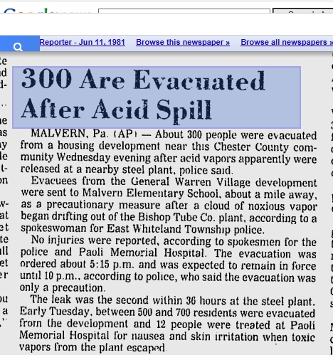 1981 Bishop Tube Acid Spill