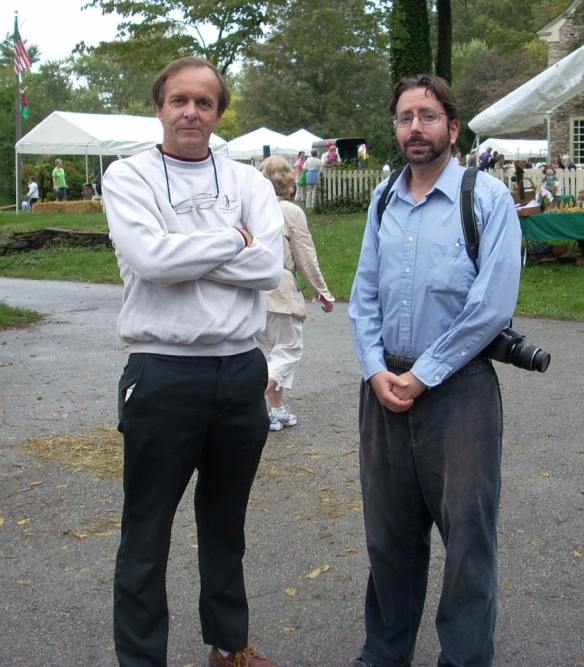 Tom at the Harriton House annual Plantation Fair in 2008 with reporter and photographer Ryan Richards.